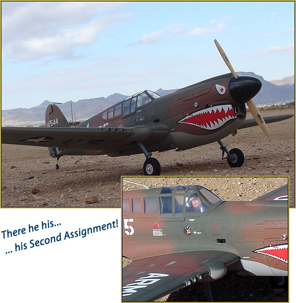 My China Models P-40 Warhawk... .61 Magnum 4-Stroke... My pilot's second assignment!