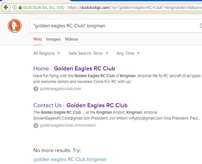 Golden Eagles RC Club FOUND on DuckDuckGo!