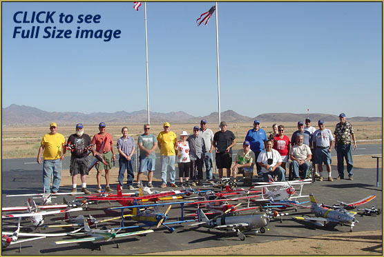 The whole gang and a bunch of models at the Kingman Golden Eagles RC Club 4th of July event!