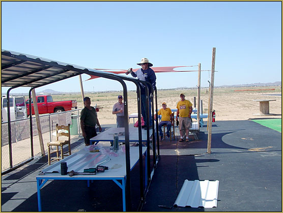 A new shade structure is assembled at the Kingman Golden Eagles RC Club field!