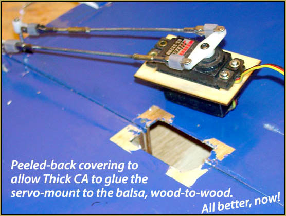 I peeled-back the covering and allowed wood-to-wood CA glue joint.