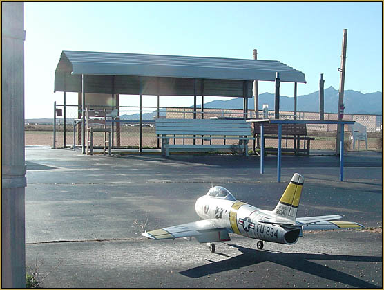 My gloss-painted Freewing F-86 EDF jet returning to the hanger after yet another successful series of flights.